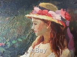 Ancien Tableau Elégante au Jardin Peinture Huile Antique Oil Painting Dipinto