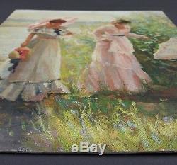 Ancien Tableau Elégantes Peinture Huile Antique Oil Painting