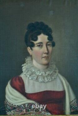 Ancien Tableau Empire Portrait de Jeune femme Châle Provence Costume Baron Gros