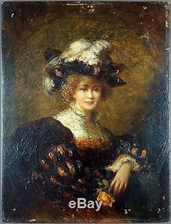 Ancien Tableau Femme Au Chapeau Peinture Huile Antique Oil Painting