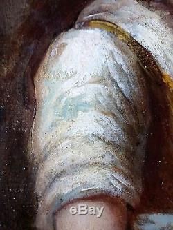 Ancien Tableau Femme Au Tambourin Peinture Huile Antique Oil Painting