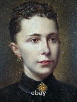 Ancien Tableau Femme à la Broche Peinture Huile Antique Painting Old Dipinto