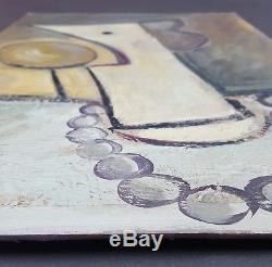 Ancien Tableau Femme avec Pomme Peinture Huile Antique Oil Painting