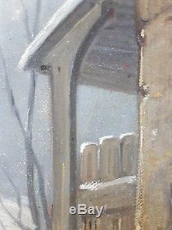 Ancien Tableau Femme sur le Pas de sa Porte Peinture Huile Oil Painting
