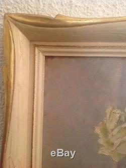Ancien Tableau Francisque POMAT (1874-1944) Bouquet Roses Dahlias Huile signée