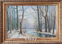 Ancien Tableau Georges Frédéric Rotig (1873-1961) paysage très forte côte