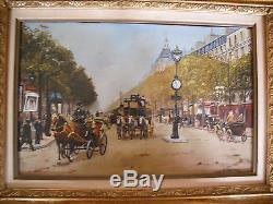 Ancien Tableau HSP Grands Boulevards Style Galien-Laloue signé A Moreau XIXème