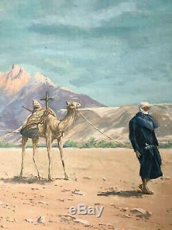 Ancien Tableau HST Orientaliste La Caravane devant le Mont Atlas E. Neant