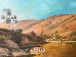 Ancien Tableau HST Orientaliste Paysage de rivière avec felouk XIX° siècle