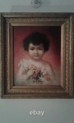 Ancien Tableau HST portrait petite fille au bouquet. Marie REOL 1880/1963