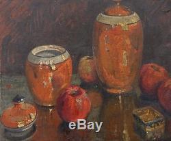 Ancien Tableau Huile Carton Nature Morte Pot de Tabac Fruit Impressionniste 1923