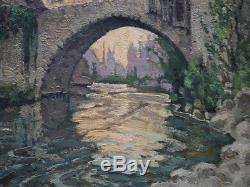 Ancien Tableau Huile Felix Raoul Eteve 1902-1967 Passerelle Estaing Aveyron