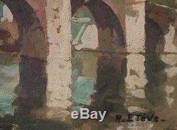 Ancien Tableau Huile Felix Raoul Eteve 1902-1967 Paysage Tarn Impressionnisme