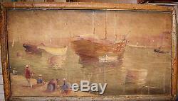 Ancien Tableau Huile Marine peinture HST Marseille dg joseph garibaldi port XIX