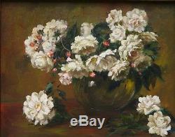 Ancien Tableau Huile Nature Morte Bouquet Fleur Pivoine Impressionniste 1935