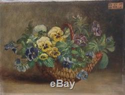 Ancien Tableau Huile Nature Morte Bouquet Pensées Fleurs Impressionnisme 1863