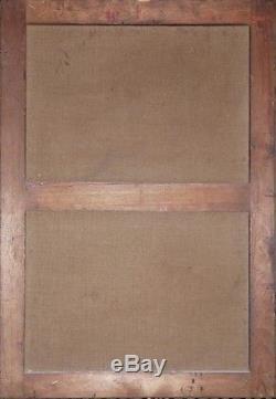 Ancien Tableau Huile Nature Morte au Vase De Grès Emaillé Impressionnisme 1908