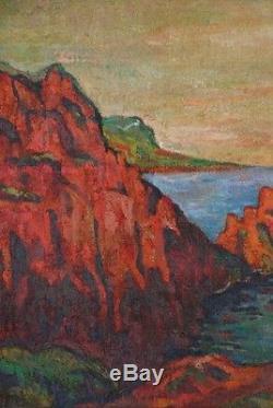 Ancien Tableau Huile Paysage Marine Armand Guillaumin (1841-1927) Baie d'Agay