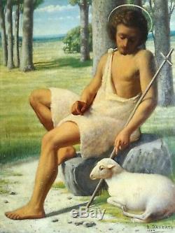 Ancien Tableau Huile Peinture Symboliste French School Painting