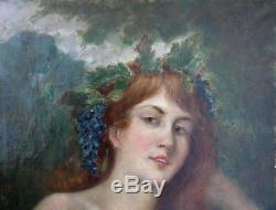 Ancien Tableau Huile Portrait Femme Rousse a La Couronne De Raisins 19 eme