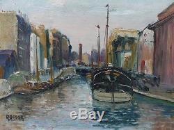 Ancien Tableau Huile Raymond Besse (1899 -1969) Peniche Canal St Martin Paris