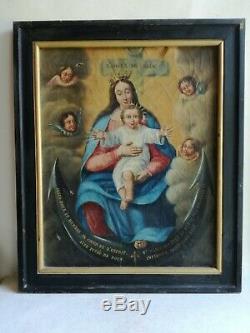 Ancien Tableau Huile Religieux Vierge Enfant Jésus Christ Old Religious Painting