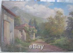 Ancien Tableau Huile Sur Panneau Adrien Simoneton 1862 / 1949 La Terrasse 1930