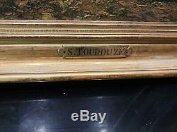 Ancien Tableau, Huile Sur Panneau, Chaumiere, Signe Toudouze, Cadre Dore, Peinture