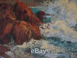 Ancien Tableau Huile Sur Panneau Marine Bord De Mer Pierre Forest (1881-1971)