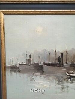 Ancien Tableau Huile Sur Panneau Signé Léon Zeytline, Le Bassin De Lorient