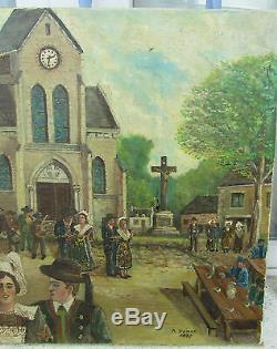 Ancien Tableau Huile Sur Toile Andre Dainex 1887 Bretagne Fete De Village