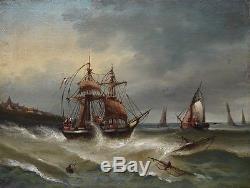 Ancien Tableau Huile Sur Toile Marine Retour De Peche Bateaux Bretagne XIXeme