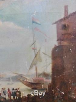 Ancien Tableau Huile Sur Toile Marine XVIII Xixeme A Dater Ecole Hollandaise