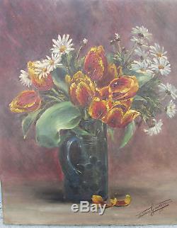 Ancien Tableau Huile Sur Toile Nature Morte Madeleine Gaussin 1915 Fleurs