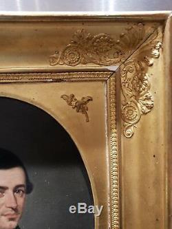 Ancien Tableau, Huile Sur Toile, Portrait, Signe, Xixeme, Cadre À Palmette, Dorure