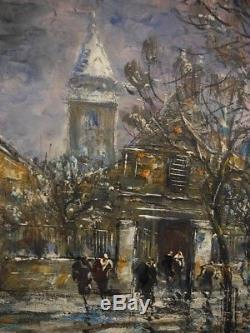 Ancien Tableau Huile Sur Toile Raymond Besse (1899-1969) Montmartre Paris Animé