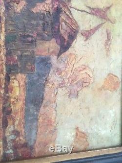 Ancien Tableau Huile Sur Toile Signature A Dechiffrer
