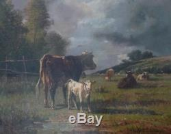 Ancien Tableau Huile Sur Toile Troupeau De Vaches Signé