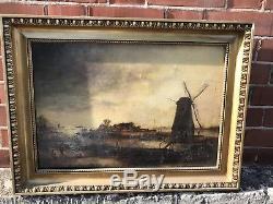 Ancien Tableau Huile Sur Toile XIXeme Décor Moulin Barbizon