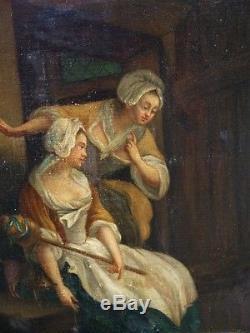 Ancien Tableau Huile Sur Toile les Fileuses au Chat Scène Interieur 19 eme