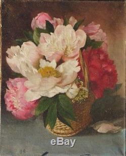 Ancien Tableau Huile Toile Nature Morte Aux Fleurs Pivoine 1886 Impressionnisme
