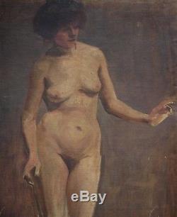 Ancien Tableau Huile Toile Nu Féminin Académique Portrait Modele XIX eme