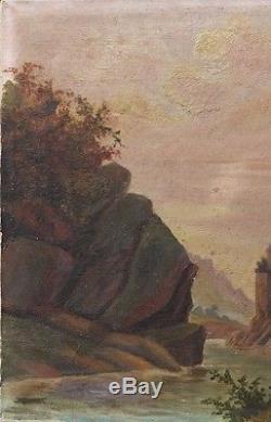 Ancien Tableau Huile Toile Paysage De Montagne Ecole Italienne XIX eme Rocher