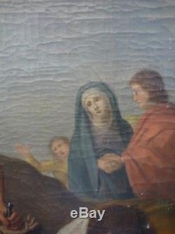 Ancien Tableau Huile Toile Religieux Jesus Cloué sur la Croix Religion XIXeme