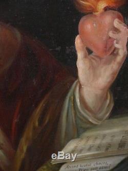Ancien Tableau Huile Toile Religieux Saint Augustin d'Hippone Religion 19 eme