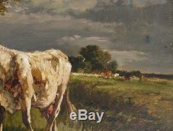 Ancien Tableau Huile Vache Pré paysage Campagne Pablo Martinez Del Rio Barbizon