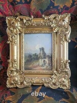 Ancien Tableau Huile / bois XIXE tres beau cadre ruine chateau feodal donjon