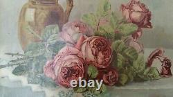 Ancien Tableau / Huile sur Toile Jetée de roses signé Années 20-30