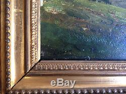 Ancien Tableau / Huile sur bois signée LOSNAY cadre doré, barbizon