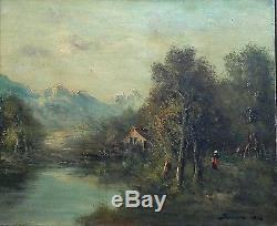 Ancien Tableau / Huile sur toile de Style Barbizon signée